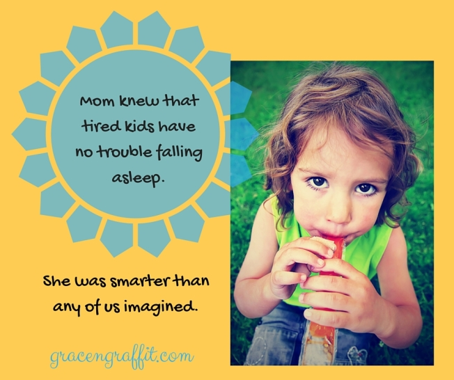 Moms know that tired kids have no trouble sleeping